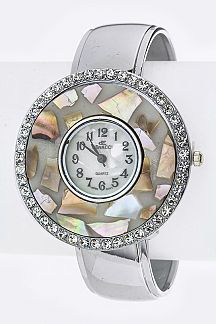 Pave Shell Bezel Fashion Bangle Watch