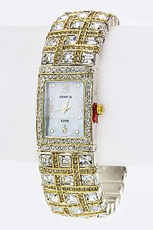 Mix Crystals Bangle Watch