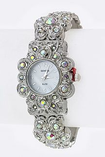 Crystal Flower Bangle Watch