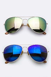 Mirror Tinted Aviator Sunglasses