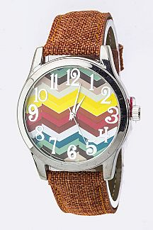Chevron Pattern Crystal Fashion Watch