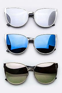 Mirror Tinted Cat Eye Sunglasses