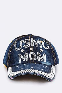 USMC MOM Crystal Embellished Cap