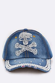 Crystal Skull Denim Cap