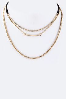Crystal & Metal Bar Layer Choker necklace