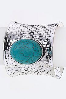 Turquoise Embossed Adjustable Cuff