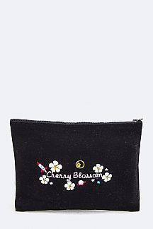 Cherry Blossom Embroidered Canvas Pouch