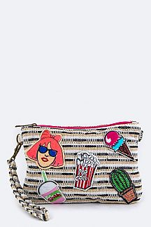 Mix Patches Wristlet Canvas Pouch