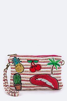 Mix Patches Convertible Canvas Crossbody Pouch