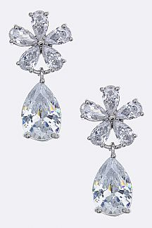 CZ Flower Drop Earrings