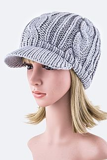 Cable Knit Fashion Visor Beanie Hat