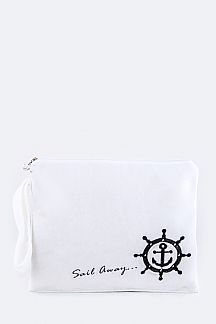 SAIL AWAY Embroidered Plush Wet Suit Pouch