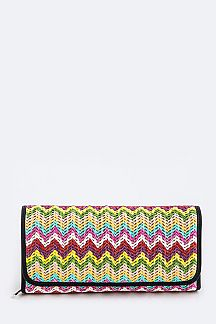 Raffia Chevron Convertible Wallet Clutch