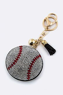 Crystal Baseball Key Charm