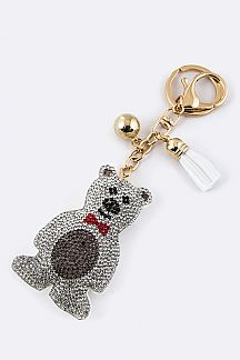 Crystal Bear Key Charm
