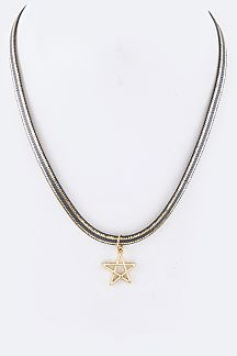 Star Pendant 2 Tone Herringbone Chian Choker Necklace