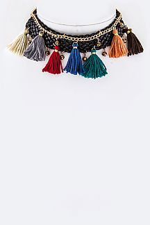 Multi Color Tassels Braided Leather Choker Necklace Set