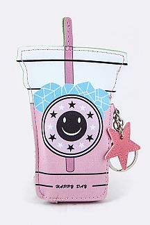 Drink Cup Coin Purse Key Charm