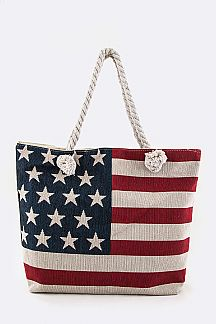 US Flag Canvas Fahion Tote