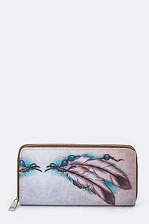 Tribal Feather Print Wallet