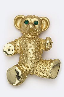 Metal Teddy Bear Brooch