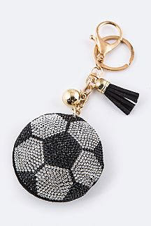 Soft Crystal Soccer Ball Key Charm