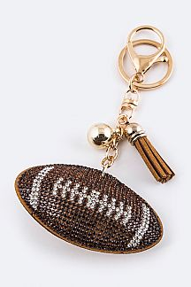 Soft Crystal Foot Ball Key Charm