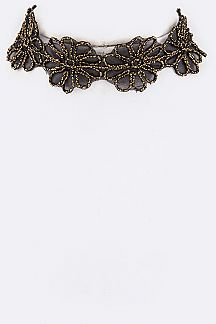 Lurex Flower Lace Choker Necklace