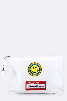 Smiley Face Patch Pouch