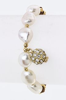 Pearls & Crystal Ball Drawstring Bracelet