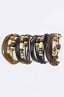 Mix Wooden Bead Layer Drawstring Bracelets Set