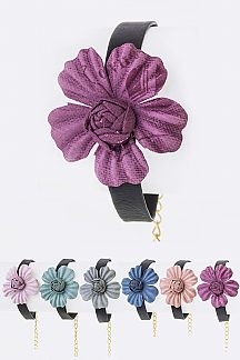 Flower Leather Bracelets Set