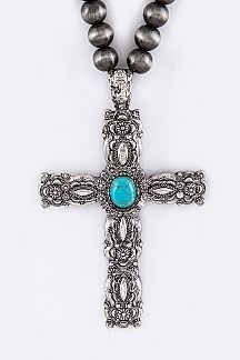 Ornate Cross Pendant Necklace Set