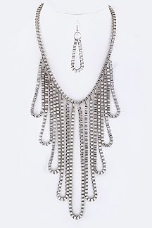 Hooped Box Chains Statement Necklace Set