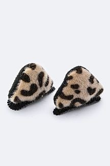 Plush Leopard Ear Hair Clips Set