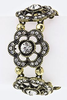 Crystal Flower Stretch Station Bracelet
