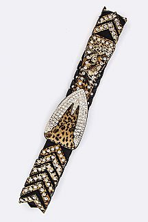 Leopard Print Crystal Statement Stretch Belt