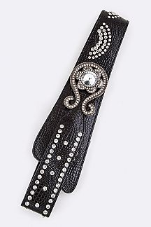 Snake Embossed Crystal Belt