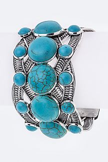 Mix Turquoise Braided Cuff