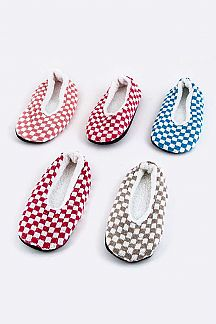 Checker Print Plushy Slippers Set