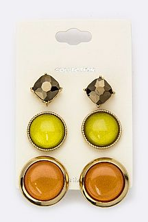 Mix Crystal & Resin Stone Studs Set