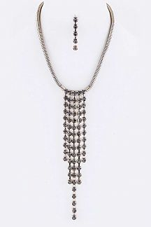 Crystal Drops Necklace Set