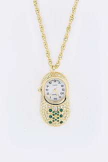 Crystal Shoe Pendant Watch Necklace