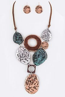 Mix Metal Plates Statement Necklace Set