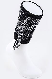 Fringed Rhombus Knit Boot Toppers