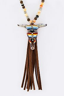 Aztec Print Skull Semi Precious Beads Tassel Necklace Set
