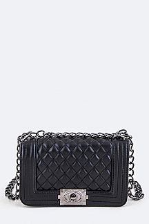 Twisted Lock Quilted Shoulder Bag