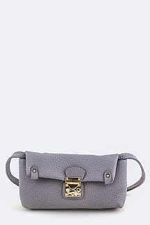 Grain Leather Push Lock Convertible Clutch Swing Bag