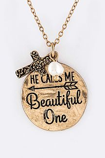 He Calls Me Beautiful One Mix Charms Necklace Set