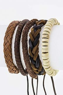 Wooden Beads & Mix Leather Bracelets Set